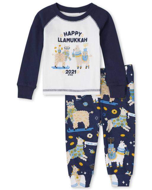 Unisex Baby And Toddler Long Sleeve 'Happy Llamukkah 2021' Snug Fit Cotton Pajamas