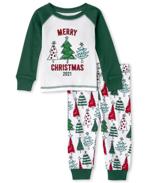 Unisex Baby And Toddler Matching Family Long Sleeve Christmas Tree Snug Fit Cotton Pajamas