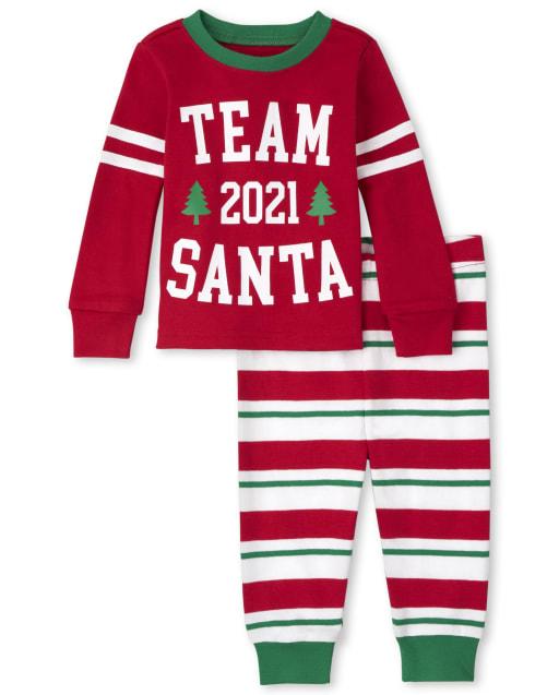 Unisex Baby And Toddler Matching Family Christmas Long Sleeve 'Team Santa 2021' Snug Fit Cotton Pajamas
