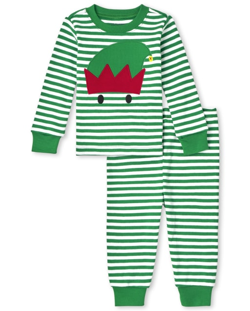 Unisex Baby And Toddler Christmas Long Sleeve Elf Striped Snug Fit Cotton Pajamas