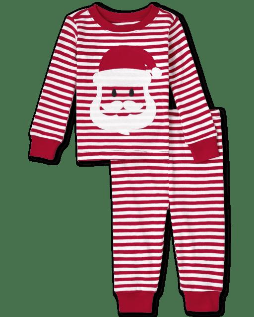 Unisex Baby And Toddler Christmas Long Sleeve Santa Striped Snug Fit Cotton Pajamas