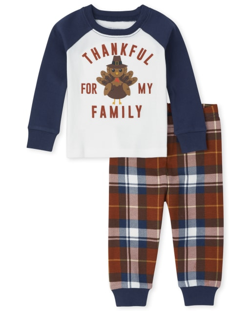 Unisex Baby And Toddler Matching Family Long Sleeve Thanksgiving Snug Fit Cotton Pajamas