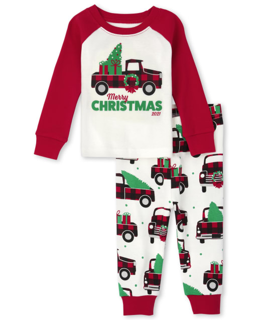 Unisex Baby And Toddler Long Sleeve Christmas Truck Snug Fit Cotton Pajamas