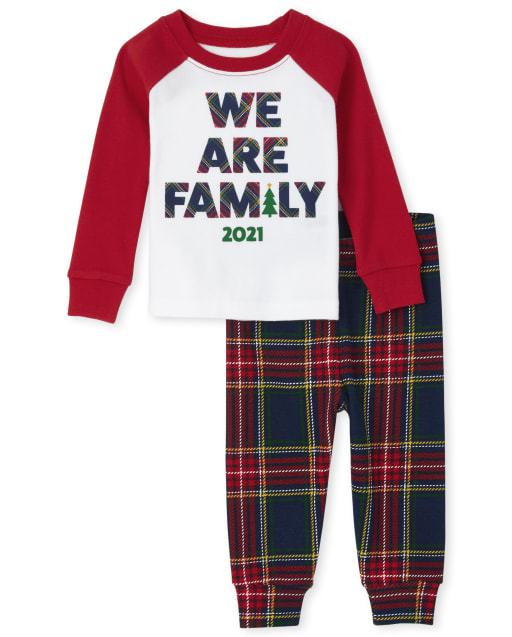 Unisex Baby And Toddler Matching Family Christmas 'We Are Family 2021' Snug Fit Cotton Pajamas