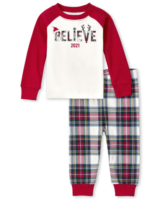 Unisex Baby And Toddler Matching Family Christmas Long Sleeve 'Believe 2021' Snug Fit Cotton Pajamas
