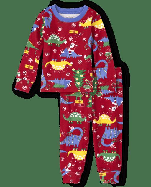 Unisex Kids Long Sleeve Christmas Dino Print Snug Fit Cotton Pajamas