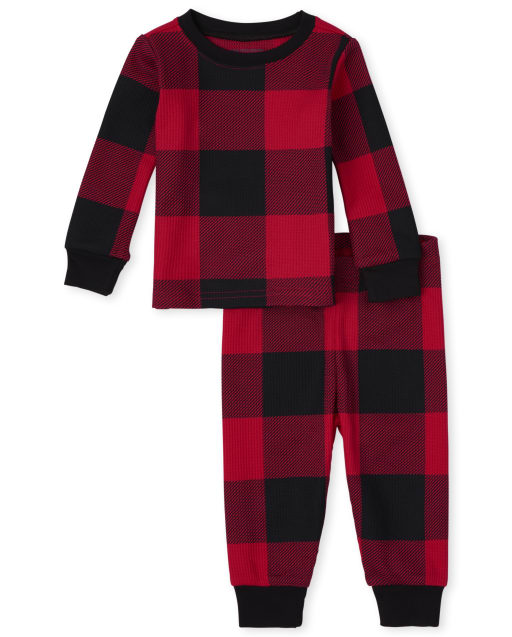 Unisex Baby And Toddler Matching Family Christmas Long Sleeve Thermal Buffalo Plaid Snug Fit Cotton Pajamas