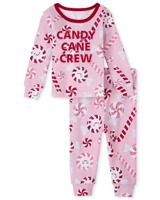 Baby And Toddler Girls Christmas Long Sleeve 'Candy Cane Crew' Snug Fit Cotton Pajamas