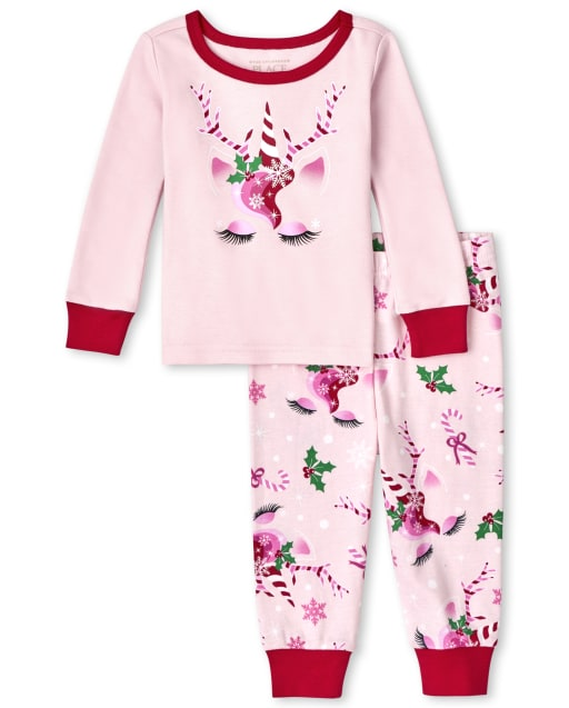 Baby And Toddler Girls Mommy And Me Long Sleeve Christmas Unicorn Snug Fit Cotton Pajamas