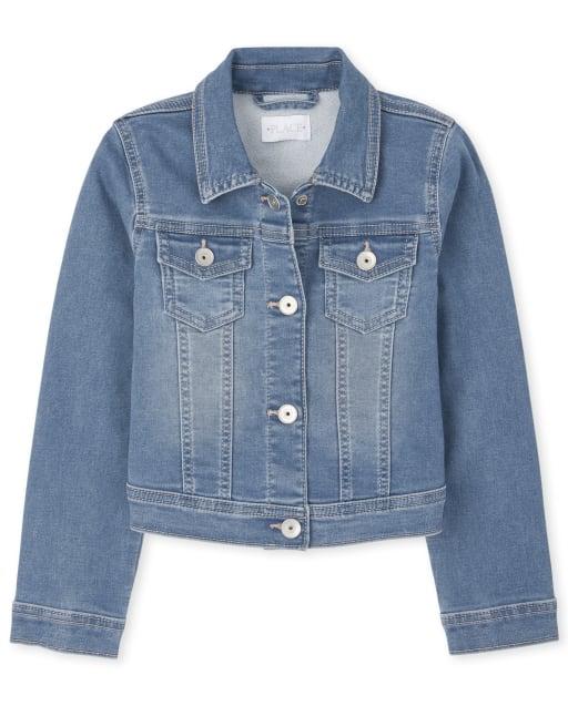 Girls Long Sleeve Super-Soft Stretch Denim Jacket