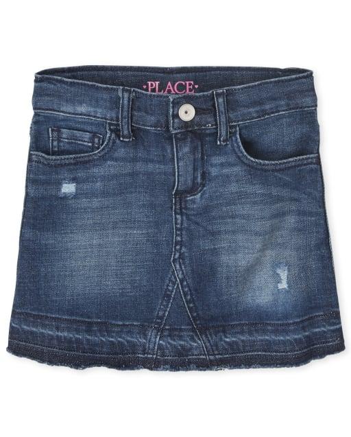 Girls Distressed Denim Skirt