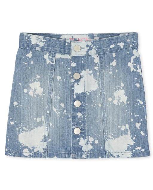 Girls Tie Dye Button Denim Skirt