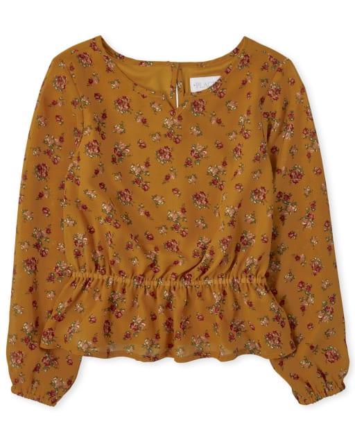 Top campesino tejido con estampado floral de manga larga para niñas