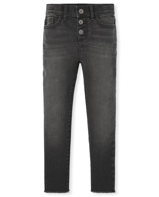 Girls Button Front Super Skinny Jeans