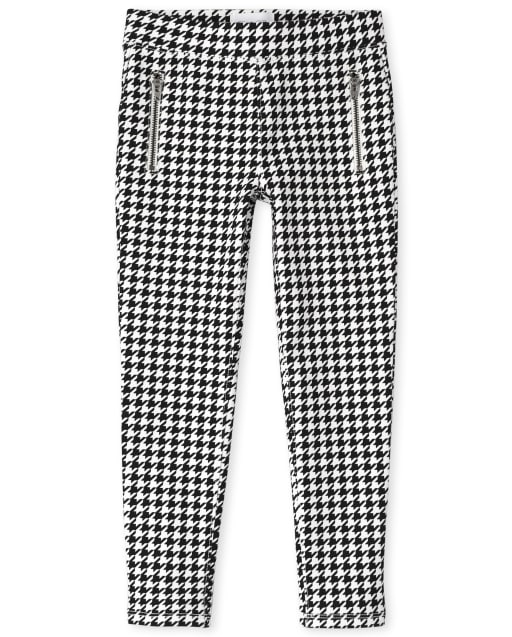 Girls Houndstooth Zip Ponte Knit Pull On Jeggings