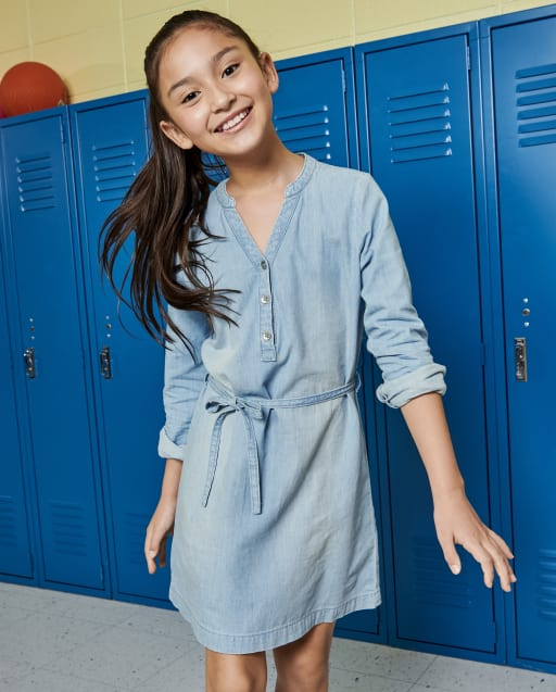 Girls Long Sleeve Chambray Shirt Dress