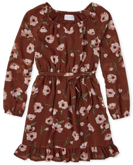 Girls Long Sleeve Floral Print Woven Peasant Dress