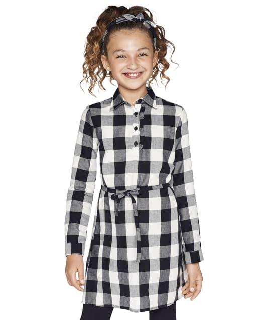 Girls Matching Family Long Sleeve Buffalo Plaid Twill Shirt Dress