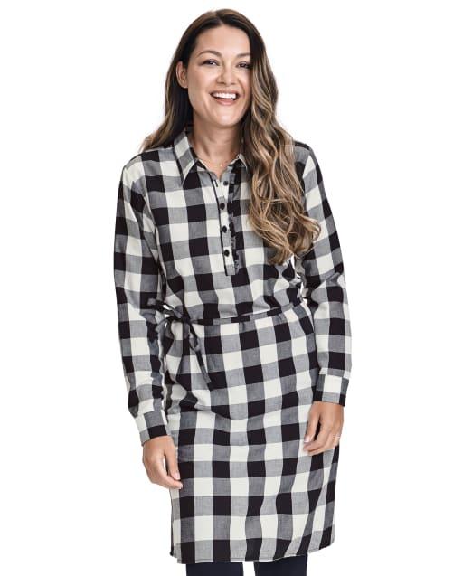 Womens Matching Family Long Sleeve Buffalo Plaid Twill Shirt Dress