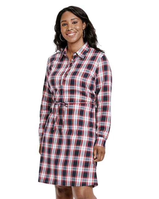 Womens Matching Family Long Sleeve Plaid Twill Shirt Dress