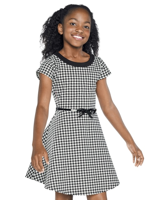 Girls Short Sleeve Houndstooth Print Ponte Knit Dress