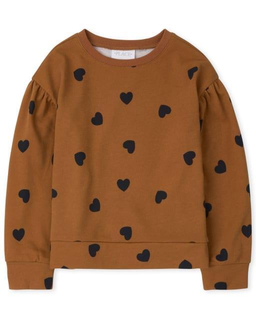 Girls Active Long Sleeve Print Fleece Sweatshirt