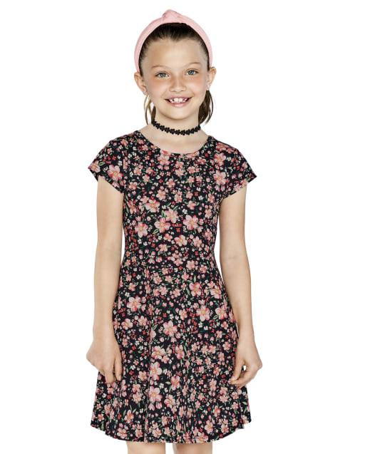 Girls Short Sleeve Floral Print Knit Cut Out Skater Dress