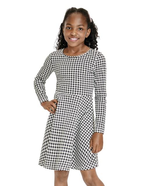 Girls Long Sleeve Houndstooth Print Knit Skater Dress