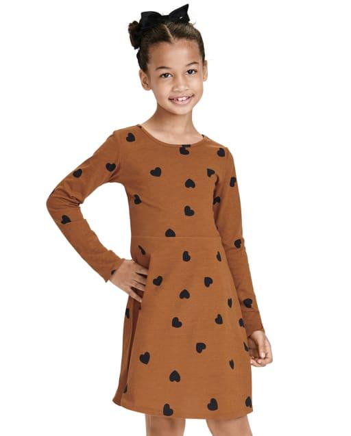 Girls Long Sleeve Heart Print Knit Skater Dress