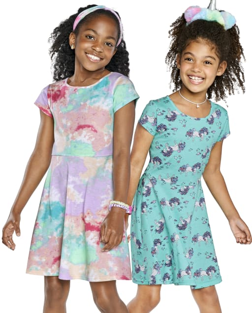 Vestido skater con estampado para niñas, paquete de 2