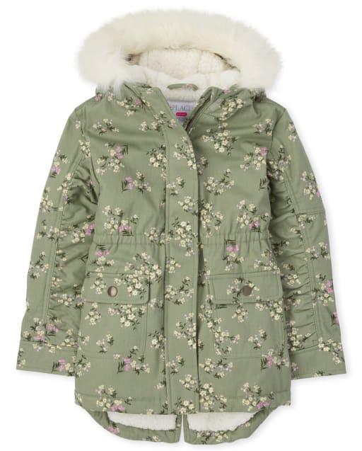 Girls Long Sleeve Floral Parka Jacket