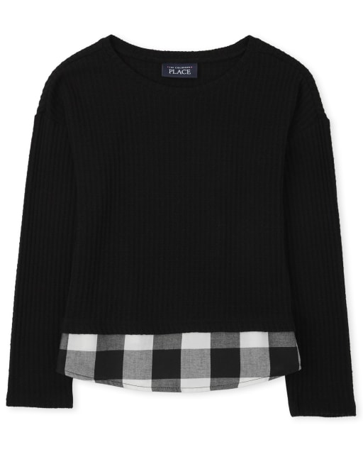 Girls Long Sleeve Buffalo Plaid Thermal 2 In 1 Lightweight Sweater