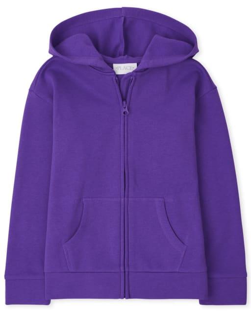Girls Active Long Sleeve Fleece Zip Up Hoodie