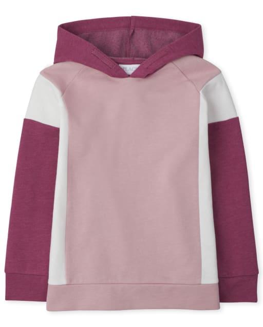 Girls Active Long Sleeve Colorblock Fleece Hoodie