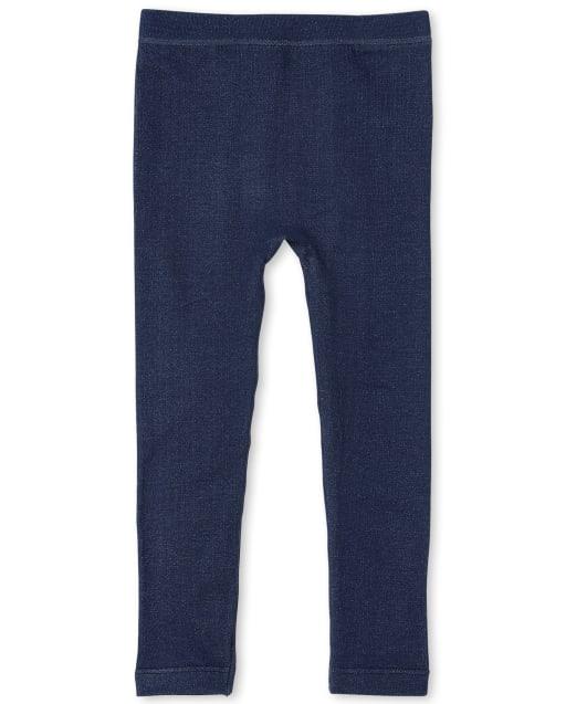 Girls Faux Denim Knit Fleece Lined Leggings