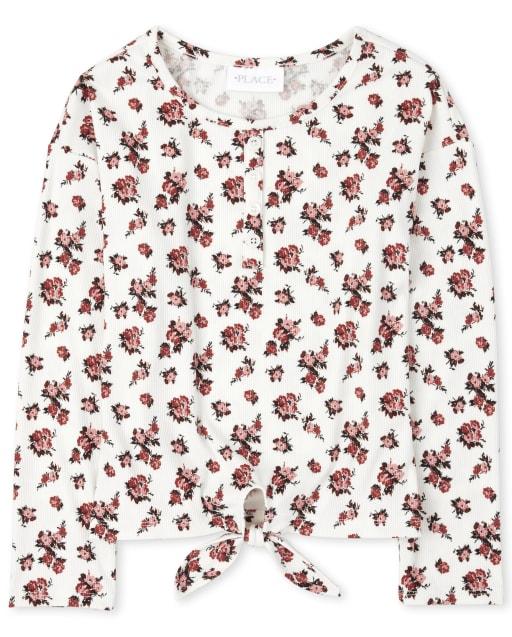 Camiseta henley delantera con lazo acanalado y estampado floral de manga larga para niñas
