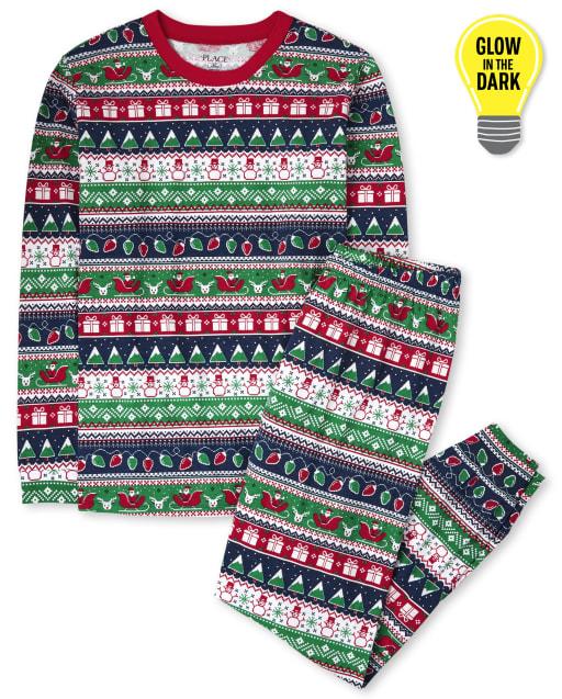 Unisex Adult Christmas Long Sleeve Glow In The Dark Christmas Fairisle Cotton Pajamas