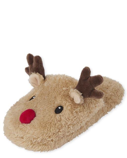 Unisex Kids Christmas Matching Family Reindeer Slippers