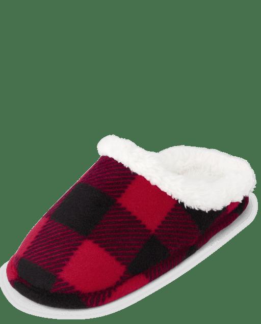 Unisex Kids Christmas Matching Family Buffalo Plaid Slippers