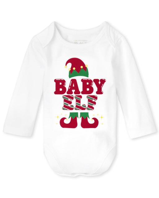 Unisex Baby Matching Family Long Sleeve Christmas Baby Elf Graphic Bodysuit