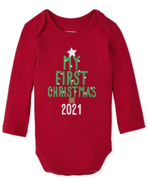 Unisex Baby Long Sleeve First Christmas Graphic Bodysuit