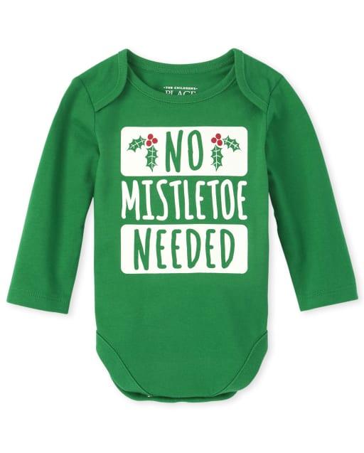 Unisex Baby Long Sleeve Christmas Mistletoe Graphic Bodysuit