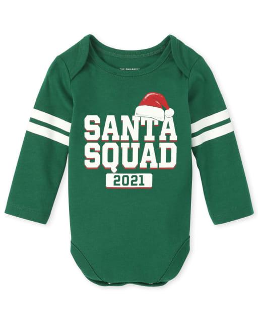 Unisex Baby Matching Family Long Sleeve Christmas Santa Squad Graphic Bodysuit