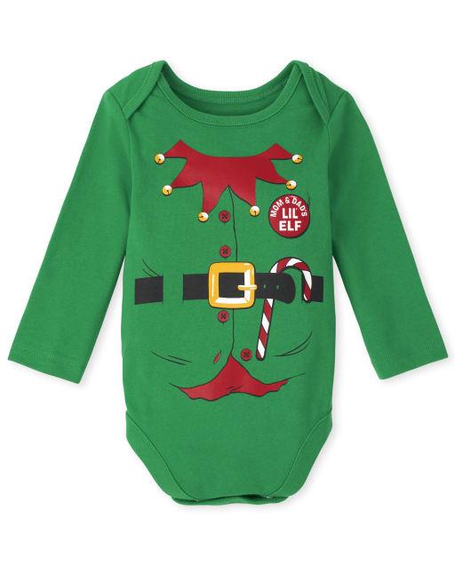 Unisex Baby Long Sleeve Christmas Elf Suit Graphic Bodysuit