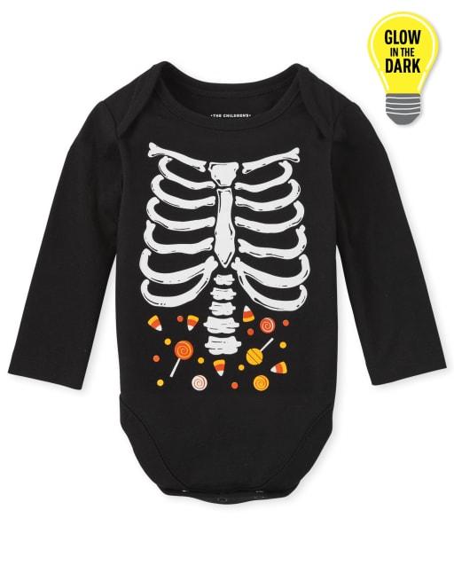 Unisex Baby Matching Family Long Sleeve Glow in The Dark Halloween Skeleton Graphic Bodysuit