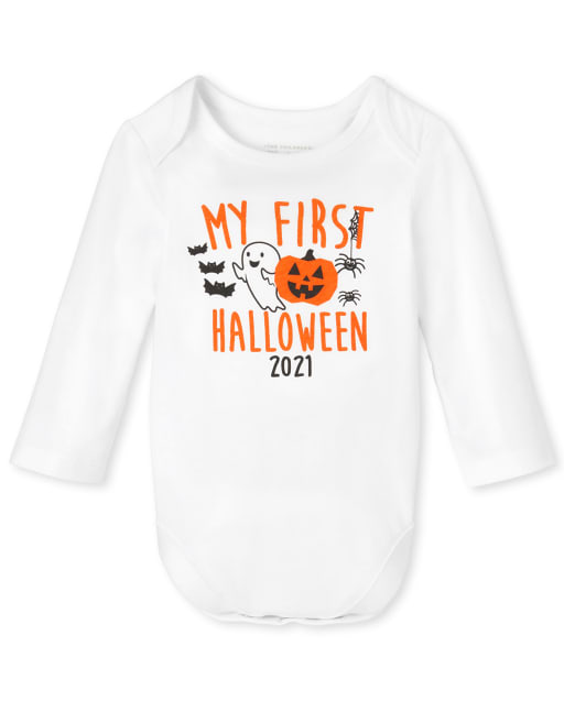Unisex Baby Long Sleeve First Halloween Graphic Bodysuit