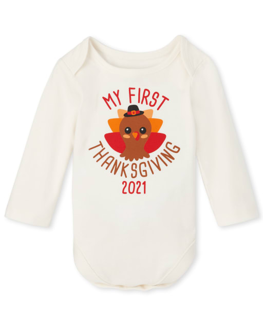 Unisex Baby Long Sleeve First Thanksgiving Graphic Bodysuit