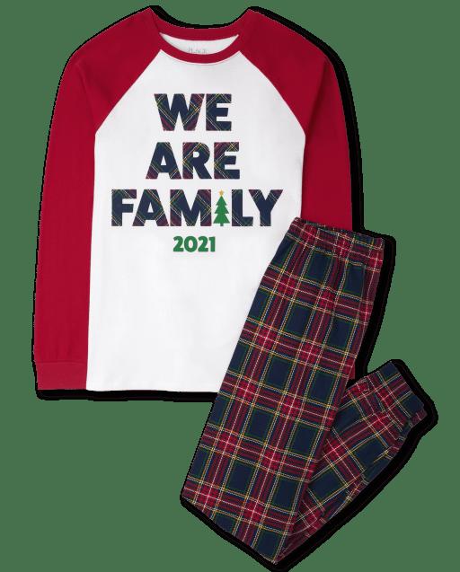Unisex Adult Matching Family Christmas 'We Are Family 2021' Cotton Pajamas