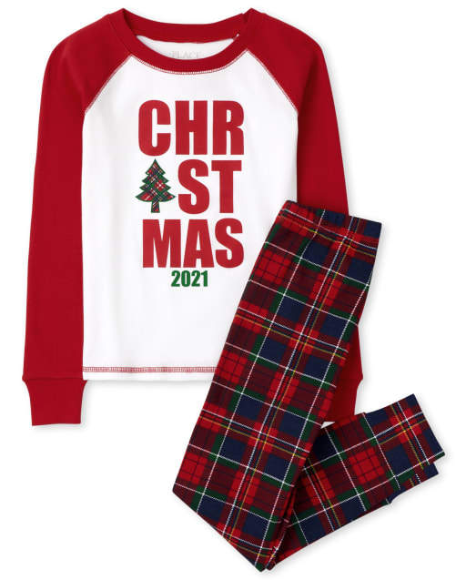 Unisex Kids Matching Family Christmas Long Sleeve 'Christmas 2021' Snug Fit Cotton Pajamas