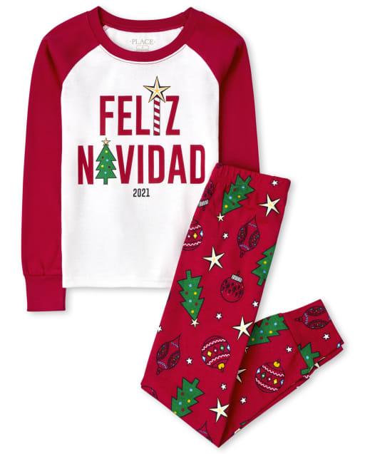 Unisex Kids Matching Family Christmas Long Sleeve Feliz Navidad Snug Fit Cotton Pajamas